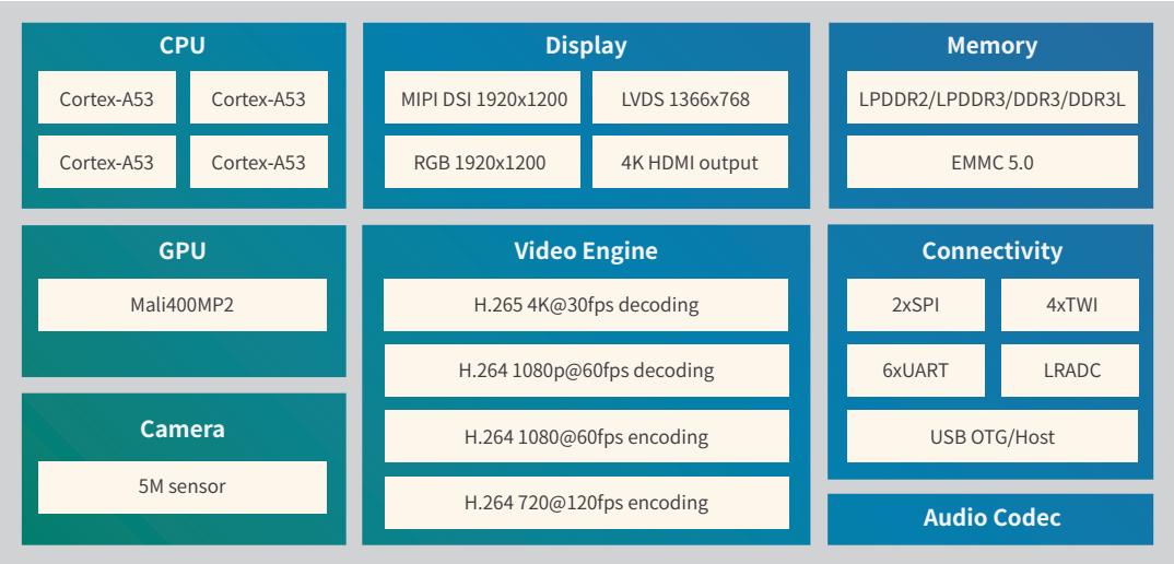 بلوک دیاگرام پردازنده R18, Pine A64